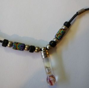 Glass - mushroom inside & colorful beads necklace